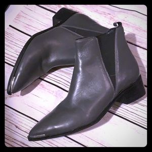 MARC FISHER | gray leather pointed slip on boots